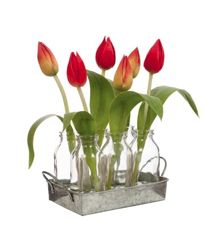 Allissias Attic Design & Vintage French Style — Designer Faux Tulip Buds in Vintage Style Glass Bottles with Tray x 6