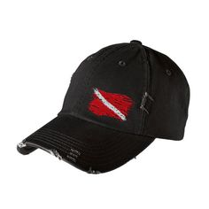 Scuba Diving Hat: Ripped Dive Flag Distressed Cap