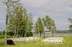 Wedding Ceremony - Simply Blue Weddings   Real Weddings   Harrison Studio, Chuppah, Arch, Lakeside wedding, Crooked Creek Ranch, Cedar, MI