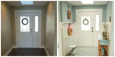Easy Home Decor - Board-and-batten wainscoting is an easy way to add a dramatic dose of farmhouse charm to an entryway. Get the tutorial at The Home Depot Faux Wainscoting, Wainscoting Styles, Wainscoting Bedroom, Wainscoting Height, Wainscoting Kitchen, Home Improvement Projects, Home Projects, Home Renovation, Home Remodeling