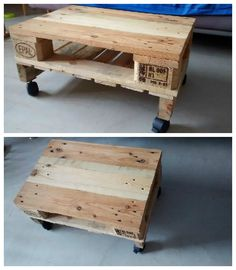 Simple Pallet Coffee Table On Wheels This can be the first project to start with! 1001 Pallets, Recycled Pallets, Wooden Pallets, Pallet Lounger, Pallet Bench, Pallet Tables, Garden Coffee Table, Diy Coffee Table, Back Deck Designs