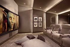 Lower storey cinema room #hometheater #projector home theatre,  surround sound,  plasma tv, recliner sofa,  acoustics,  wall paneling, carpeting, false ceiling, lighting design,  entertainment unit , seating , interior design