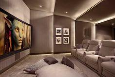 Lower storey cinema room #hometheater #projector home theatre,  surround sound,  plasma tv, recliner sofa,  acoustics,  wall paneling, carpeting, false ceiling, lighting design,  entertainment unit , seating , interior design