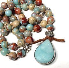 Hand Knotted Beaded Necklace Bohemian Opal Gemstone by LoveandLulu