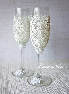 Gold Wedding Champagne Flutes Wedding Champagne Glasses Gatsby Style Wedding…