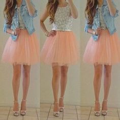 Jean jacket with a pink tutu