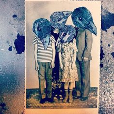 "illustration collage on vintage photograph. ""Our Flock 1982"" Kelly Kielsmeier"