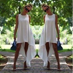 Chiffon Sleeveless White Asymmetrical Hem Loose Dress