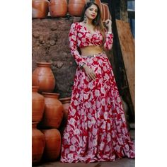 Red italian silk printed lehenga choli