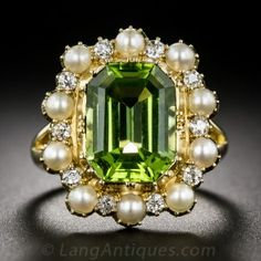 Victorian Peridot, Pearl and Diamond Ring