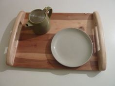 Wooden serving platter. Wooden serving tray with handles.