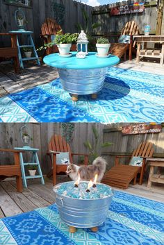 When you visit Hometalk you will find out how to take a large galvanized bucket and turn it into a table by day and a fire pit by night!  See how simple and inexpensive it is to do!  A great item to have for your yard!
