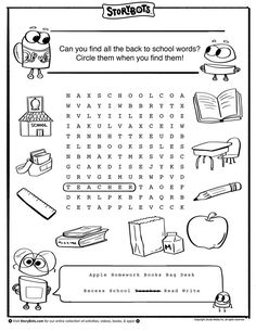 Back To School Word Back To School Activity Sheets
