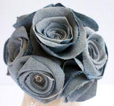 hair clips, 42 creativ, rose bouquet, roses, bouquets, blue jean, flowers, denim rose, flower hair