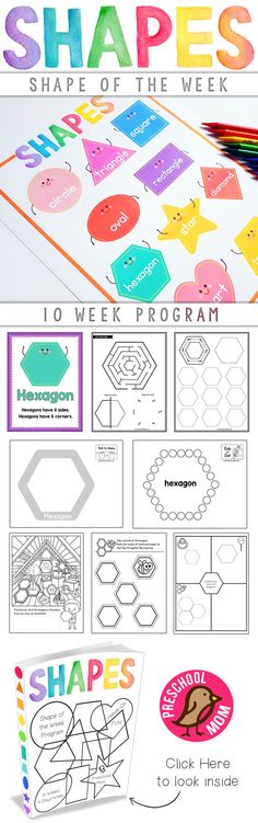 Shape-of-the-Week covers 10 different shapes over a 10-week period.  Each week includes 4-days of activities and hands-on learning designed to keep little minds engaged.  This curriculum is print-&-go, meaning you can print it out, place it in a three-ring binder, and everything is presented in the order needed during the 10-week program. via @CraftyClassroom