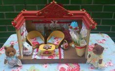 Sylvanian families beautifully decorated Cath kidston summer garden house