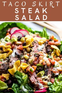 We've been making this easy taco skirt steak salad all summer long. This beef steak salad is always a big hit at parties. It's made with cumin-seasoned skirt steak, cheese, Pico de Gallo, crisp lettuce, black beans, and avocados. #steaksalad #tacosalad #dinner #tacoskirtsalad @whiskitrealgud   whiskitrealgud.com Taco Salad Recipes, Healthy Salad Recipes, Lunch Recipes, Easy Dinner Recipes, Beef Recipes, Easy Meals, Cooking Recipes, Drink Recipes, Dinner Ideas