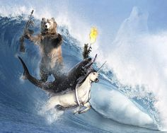 a big and little machine gun toting bears riding a great white shark riding a unicorn in the barrel. pretty epic.