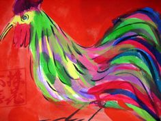 WALASSE TING/ found on www.kunzt.gallery / Morning Bird, +- 1985 / Acrylic on paper / 16 x 22 cm