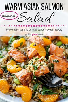 Warm Asian Salmon Salad - Make dinner healthy and easy with a quick brown rice salad, spinach and other veggies, mandarin oranges, marinated Asian style pan seared salmon and a sweet and tangy dressing. This is easily the best Asian salmon salad I've ever had! The fish is so tender it falls apart! It's also the perfect leftover meal for tomorrow's lunch.#salmon #salads #healthyeating #healthyrecipes | pickledplum.com