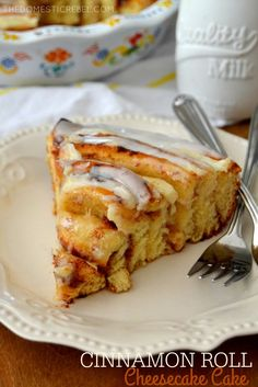 This cake is outrageous. Like, crazy-town good. Yup that good!! It's basically a gigantic cinnamon roll stuffed with cheesecake filling. So in a word, it's perfect. Serve it up for breakfast, lunch…
