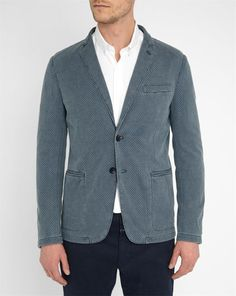 ARMANI COLLEZIONI Blue Geometric Pattern Piped Pockets Jersey Jacket