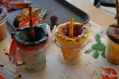 Use plastic baggies on your water/paint cups to make cleanup a breeze.