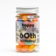 These Gorgeous Colourful And Fun Packed Candy Jars Are Great For A 60th Birthday Party Favours