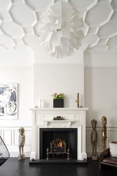 Fireplace ceiling panelling art pendant