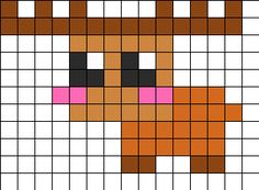 Cute Moose Perler Bead Pattern | Bead Sprites | Animals Fuse Bead Patterns