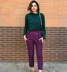 Trendy business casual outfits for women young professional 20 – wonders style Purple Pants Outfit, Purple Outfits, Colourful Outfits, Colorful Fashion, Cool Outfits, Fashion Colours, Trajes Business Casual, Business Casual Outfits For Women, Professional Outfits
