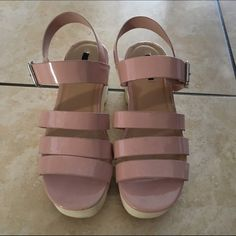 Forever 21 Platform Shoes Nude Pink Platform Sandals.                                 •I thought I would use this a lot but I only used once to an outdoor foodie fest.                   •Size 7.5 •3 inches high.                                                       •cheaper on my Ⓜ️ercari Forever 21 Shoes Platforms
