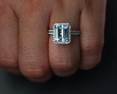 14k White Gold 10x8 Aquamarine Emerald Cut Engagement Ring and Diamonds Wedding Band set (Choose color and size options at checkout)