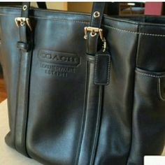 Today only Black leather Coach bag Purchased from another posher for a birthday present for myself,  however my husband bought me a new black leather Coach bag as a birthday present too!  I now have 5 black leather Coach purses and need to get a few other colors!  .  inside could use a cleaning, priced to reflect wear. Coach Bags