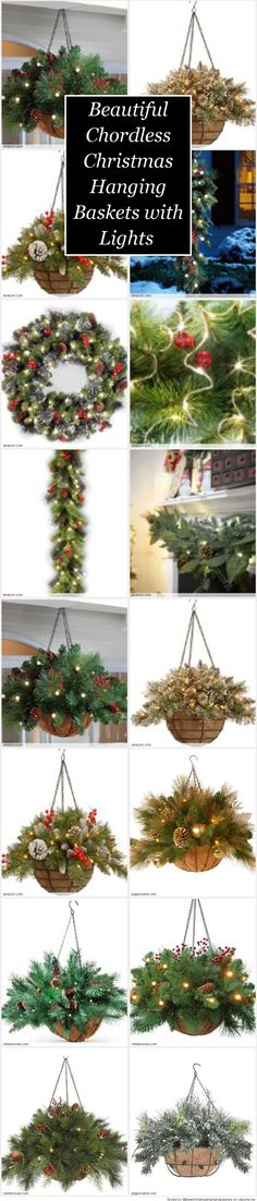 Beautiful Chordless Christmas Hanging Baskets with Lights