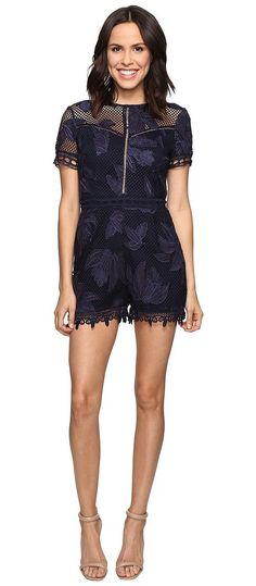Adelyn Rae Lace Romper (Navy) Women's Jumpsuit & Rompers One Piece - Adelyn Rae, Lace Romper, F611B1346-410, Apparel One Piece Jumpsuit & Rompers, Jumpsuit & Rompers, One Piece, Apparel, Clothes Clothing, Gift, - Fashion Ideas To Inspire