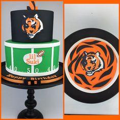 A Cincinnati Bengals birthday cake and matching smash cake designed by Layer After Layer. #cincinnatibengals #football #fan #tieredcake #fondant #cake #layerafterlayer
