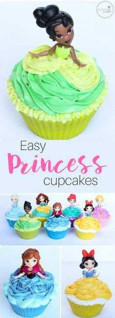 Easy Princess Cupcakes Tutorial and princess birthday party ideas