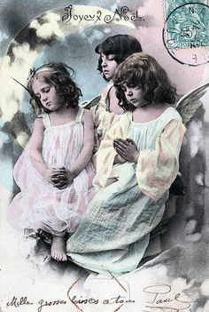 Sweet Angel girls praying ~ vintage French Joyeux Noel Christmas real photo postcard.