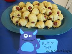 When ordering/designing signs for each food station, incorporate them into your theme. For instance, the character that is shown in the photo will complement well when having a monster themed bash or an ordinary halloween themed birthday party! Little Monster Birthday, Monster 1st Birthdays, Monster Birthday Parties, 1st Boy Birthday, First Birthday Parties, First Birthdays, Birthday Ideas, Little Monster Party, Monster Inc Party