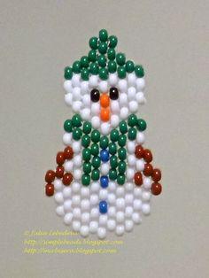 Beaded Snowman in brick stitch - free pattern ~ Seed Bead Tutorials