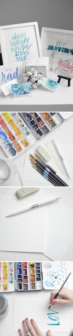 TUTORIAL: LETTERING WITH WATERCOLORS ( http://melissaesplin.com/2014/05/tutorial-lettering-with-watercolors/ )