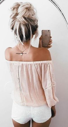 Peach Off Shoulder Top + White Lace Shorts                                                                             Source