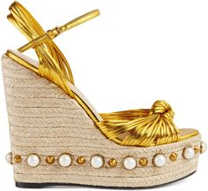 Metallic leather knot espadrille