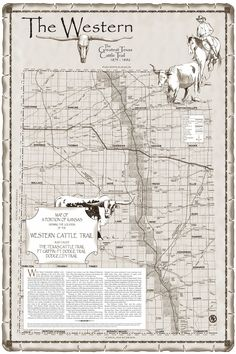 Map of Western Cattle Trail In Kansas
