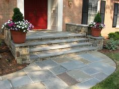 Stone walkway and front steps Architectural Landscape Design Front Porch Steps, Front Stairs, Front Stoop, Front Walkway, Front Yard Landscaping, Landscaping Ideas, Slate Walkway, Front Path, Porch Stairs