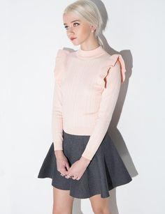 Pink Ruffle Sweater - Cute Knit Sweater -