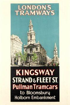 LT Kingsway Strand Fleet St London Tramways, 1930 - original vintage poster by Edward Swann listed on AntikBar.co.uk