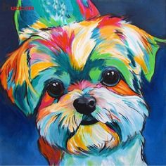 Check out our modern dog pop art selection for the very best in unique or custom, handmade pieces from our shops. Chien Shih Tzu, Perro Shih Tzu, Shih Tzu Dog, Shih Tzus, Dog Pop Art, Dog Art, Arte Pop, Art Sur Toile, Rainbow Dog