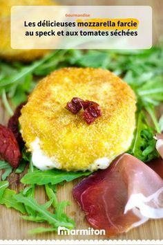 Mozzarella farcie au speck et aux tomates séchées gourmande à souhait #marmiton #recettemarmiton #recette #cuisine #mozzarella #speck